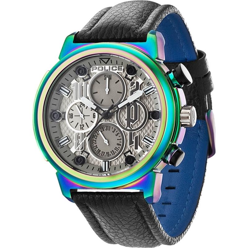 police mens watch 14250xsrw 61 chriselli police 14250xsrw 61 mens boa black leather strap watch