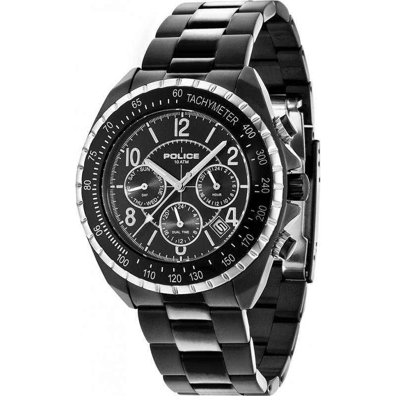 5425a6ba6c29 Black Metal 14343JSBS-02M Police Navy V Watch