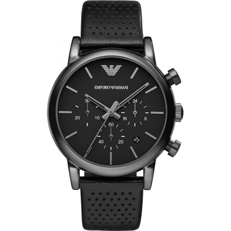 Emporio Armani AR1737 Pánská klasický chronograf ip černý kožený řemínek  hodinky ab97e0cc4e