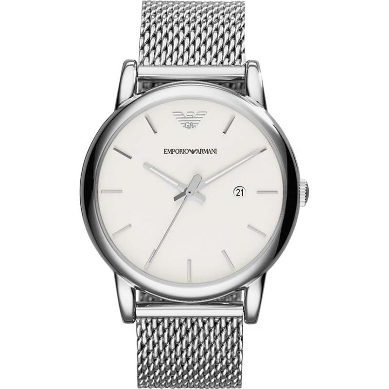 fe477913a34 Emporio Armani AR1812 Mens clássico prata branca pulseira de malha de  relógio