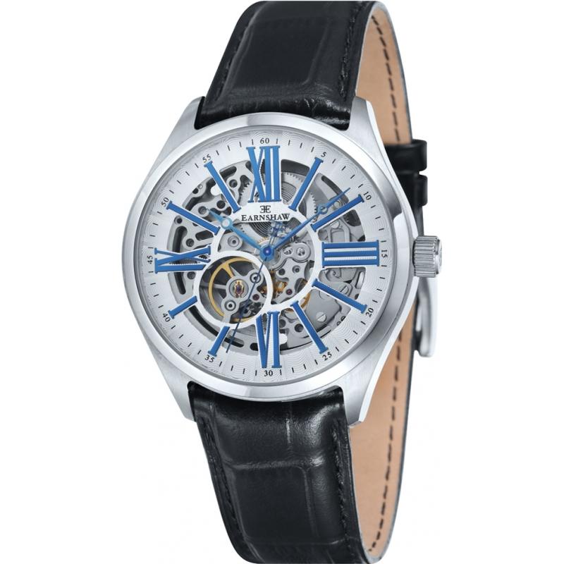 c82b2f0dc8b Thomas Earnshaw ES-8037-02 Mens Armagh Black Croco Leather Strap Watch