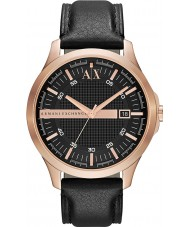Armani Exchange AX2129 Mens Rose Gold Black Leather Strap Dress Watch