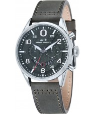 AVI-8 AV-4031-03 Mens Hawker Harrier II Green Leather Strap Chronograph Watch