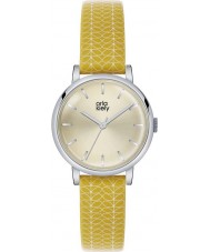 Orla Kiely OK2027 Ladies Patricia Stem Print Yellow Leather Strap Watch