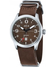 AVI-8 AV-4021-02 Mens Flyboy Automatic Brown Leather Strap Watch