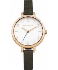 Karen Millen KM138ERG Ladies Grey Leather Strap Watch