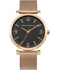 French Connection FC1249RGM Ladies Black Rose Gold Plated Mesh Watch