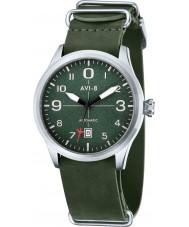 AVI-8 AV-4021-03 Mens Flyboy Automatic Dark Green Leather Strap Watch