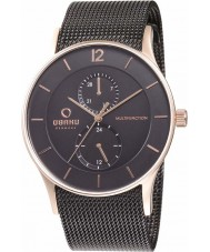 Obaku V157GMVBMB Mens Multifunction Rose Gold Plated Black Mesh Bracelet Watch