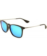 RayBan RB4187 54 Chris Black 601-55 Blue Mirrored Sunglasses