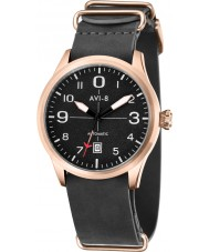 AVI-8 AV-4021-04 Mens Flyboy Automatic Black Leather Strap Watch