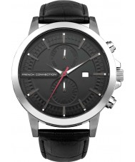French Connection FC1270B Mens All Black Leather Strap Watch