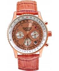 Krug Baümen 400704DS Air Traveller Diamond Orange Leather Strap Watch