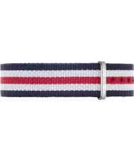 Daniel Wellington DW00200051 Ladies Classic Canterbury 36mm Silver White Blue and Red Nylon Spare Strap