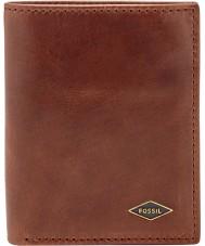 Fossil ML3731201 Mens Ryan Dark Brown Coin Card Case Bifold RFID Wallet