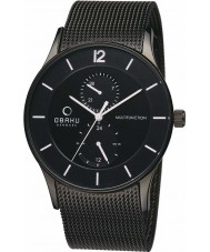 Obaku V157GMBBMB Mens Multifunction Black IP Mesh Bracelet Watch