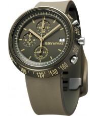 Issey Miyake AZ008 Mens Trapezoid Brown Silicone Chronograph Watch