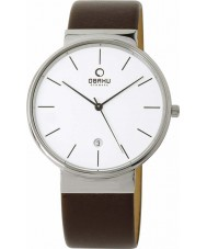 Obaku V153GDCIRN Mens Brown Leather Strap Watch