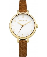 Karen Millen KM138TG Ladies Brown Leather Strap Watch