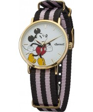 Disney by Ingersoll DIN009GDPK Mens Classic Mickey Mouse Pink and Blue Nylon Strap Watch
