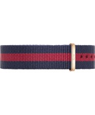 Daniel Wellington DW00200029 Ladies Classic Oxford 36mm Rose Gold Blue and Red Nylon Spare Strap