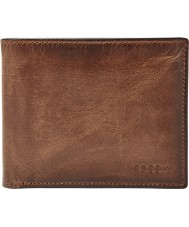 Fossil ML3771200 Mens Derrick Brown Leather RFID Passcase