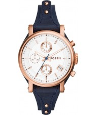 Fossil ES3838 Ladies Original Boyfriend Blue Leather Chronograph Watch