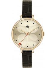 Orla Kiely OK2032 Ladies Ivy Black Leather Strap Watch