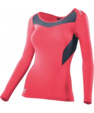 2XU WA2270A-TGN-GRY-XS Ladies PWX Tangerine and Grey Compression Long Sleeve Top - Size XS