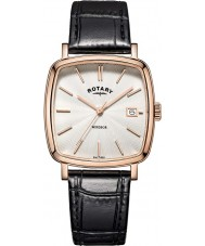 Rotary GS05309-01 Mens Timepieces Windsor Rose Gold Plated Black Leather Strap Watch