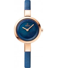 Obaku V129LXVLRA Ladies Blue Calf Leather Strap Watch