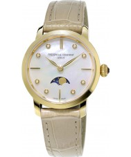 Frederique Constant FC-206MPWD1S5 Ladies Slimline Moonphase Beige Leather Strap Watch