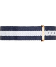 Daniel Wellington DW00200031 Ladies Classic Glasgow 36mm Rose Gold White and Blue Nylon Spare Strap