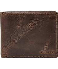 Fossil ML3771201 Mens Derrick Dark Brown Leather RFID Passcase