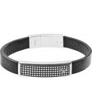 Emporio Armani EGS1941040 Mens Signature Black Leather ID Bracelet