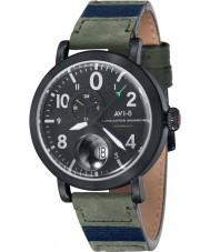 AVI-8 AV-4038-02 Mens Lancaster Bomber Army Green Leather Strap Watch