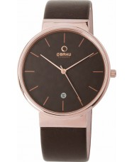 Obaku V153GDVNRN Mens Rose Gold Plated Brown Leather Strap Watch