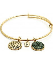 Chrysalis CRBT0105GP 14ct Gold Plated Expandable Bangle with Emerald Swarovski Crystals