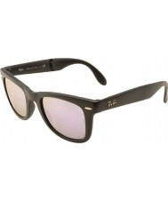 RayBan RB4105 50 Folding Wayfarer Matte Black 601S4K Lilac Mirrored Sunglasses