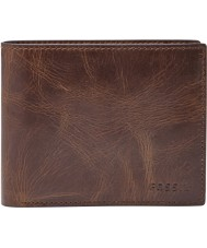 Fossil ML3687201 Mens Derrick Dark Brown RFID Wallet with Large Coin Pocket