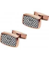Emporio Armani EGS2143221 Mens Tonneau Mesh Two Tone Steel Cufflinks