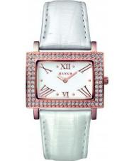 Mango QM281-32-01 Ladies Samba White Dial Pearl White Leather Strap Watch