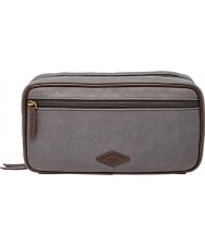 Fossil MLG0388020 Mens Grey Waxed Twill Double Zip Shave Kit