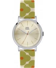 Orla Kiely OK2035 Ladies Patricia Green Orange Flowery Leather Strap Watch