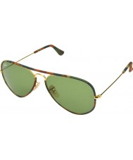RayBan RB3025JM 58 Aviator Full Color Gold Camouflage168-4E Sunglasses