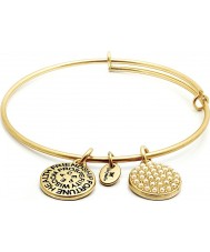 Chrysalis CRBT0106GP 14ct Gold Plated Expandable Bangle with Glass Pearl Swarovski Crystals