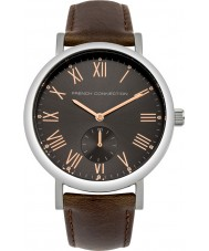 French Connection FC1259T Mens Brown Padded Leather Strap Watch