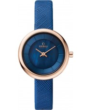 Obaku V146LXVLRA Ladies Blue Calf Leather Strap Watch