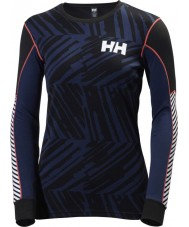 Helly Hansen 48462-689-XS Ladies Active Flow Graphic Blue Baselayer - Size XS