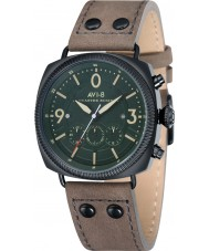 AVI-8 AV-4022-05 Mens Lancaster Bomber Beige Leather Strap Chronograph Watch